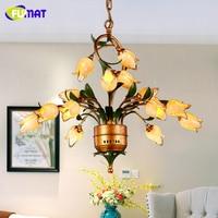 FUMAT Glass Flowers Chandeliers American Artistic Yellow Glass Shade Suspension Lights Living Room European Art Deco Chandeliers