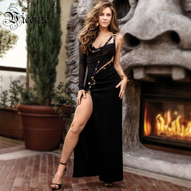 VC כל משלוח חינם 2020 חם חדש שיק אלגנטי סיכת פיצול עיצוב סקסי אחת כתף סלבריטאים המפלגה תחבושת שמלה ארוכה