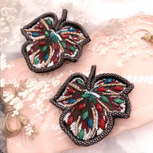 Korea New Handmade Embroidery Rhinestone Vintage Leaf Badge Brooches Pin Fashion Jewelry For Woman Accessories-SWGWBH100C
