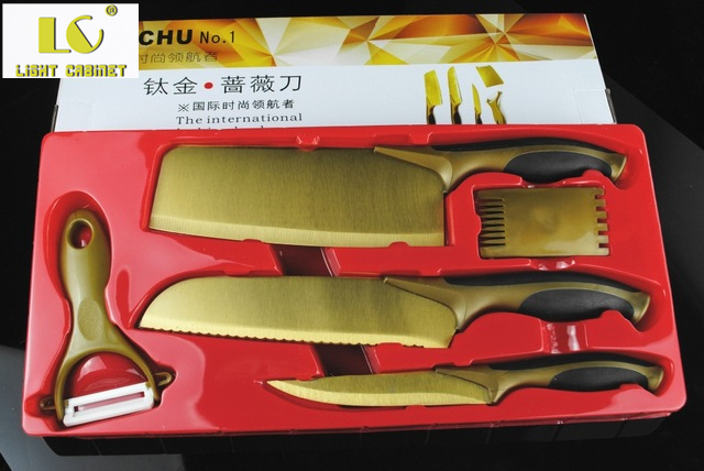 titanium kitchen knives butcher block countertops lc 50 off promotion stock 5pcs gold knife utility chef chop set with plastic peeler comb in color box