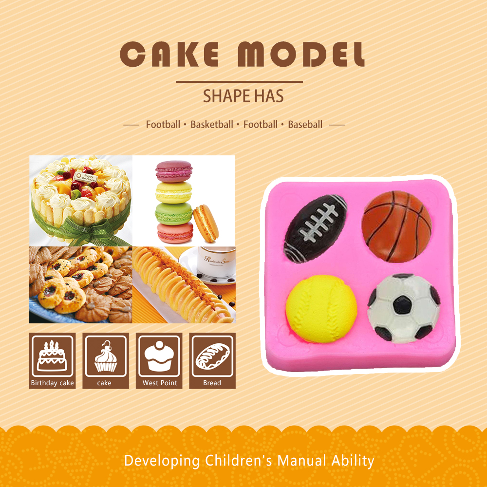 Soccer Mould Basketball Cake Mold Creative 6*6*1.3cm Pink Sugarcraft DIY Pastry Craft