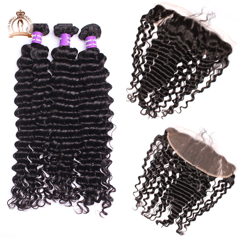 ФОТО 6A Cambodian Virgin Hair Full Frontal Lace Closure 13x4 With Bundles 4Pcs Deep Wave Lace Frontal Closure With Bundles 10-30 Inch