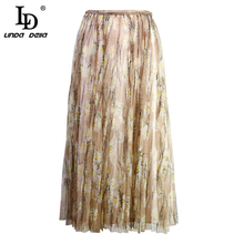 LD LINDA DELLA New 2019 Summer Fashion Designer Skirt Women's Mesh Overlay Floral Printed Pleated Elegant Casual Ladies Skirt contrast gingham waist mesh overlay skirt