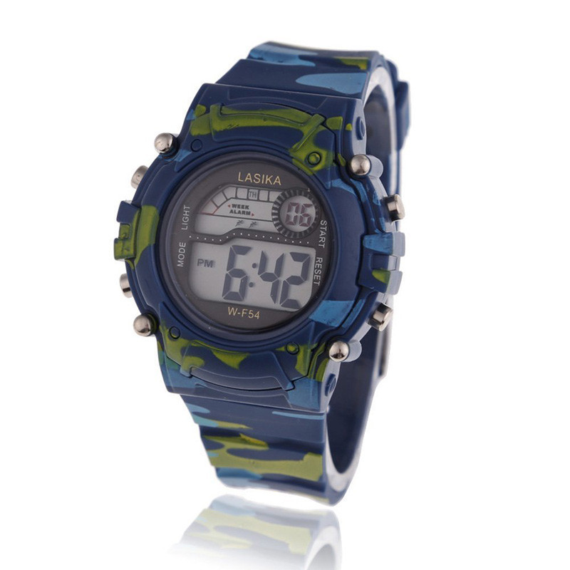 Children's Watch Boys Camouflage Swimming Sports Digital Wrist Kids Watch Waterproof Students Time Clock Best A9