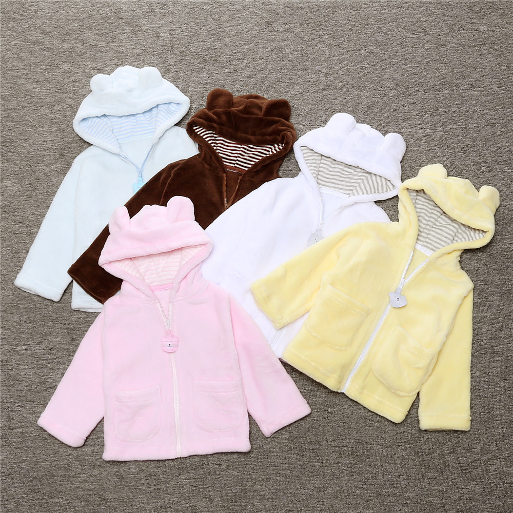 Free shipping Baby Coats girls boys Kids Tops Kids Warm sweatshirt Hooded coat Coral soft Velvet