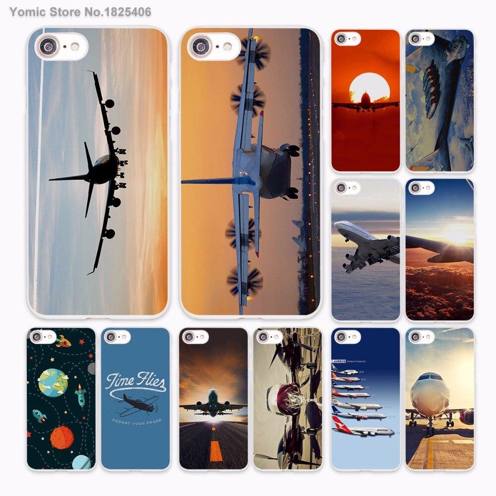 Самолет Восход самолет Дизайн Жесткий Белая кожа чехол для Apple iPhone 6 6S плюс 7 7 Plus SE 5 5S 5C Чехол для телефона