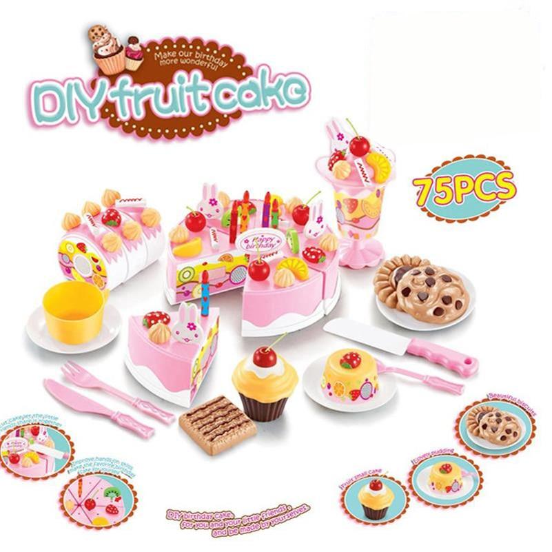 Abbyfrank 75Pcs Kitchen Toys Pretend Play Cutting Birthday Cake Food Toy Tableware Cocina De Juguete Plastic Play Food Tea Set