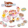 75 unids de corte cumpleaños cake kitchen toys pretend play food juguete cocina de plástico para niños play juego de té cocina de alimentos Juguete