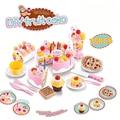75Pcs Cutting Birthday Cake Kitchen Toys Pretend Play Food Toy Kitchen For Children Plastic Play Food Tea Set Cocina De Juguete