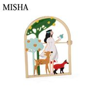 MISHA New Enamelled princess with small animal Brooch Jewelry elk Brooch Original Cute multi function For decoration L786