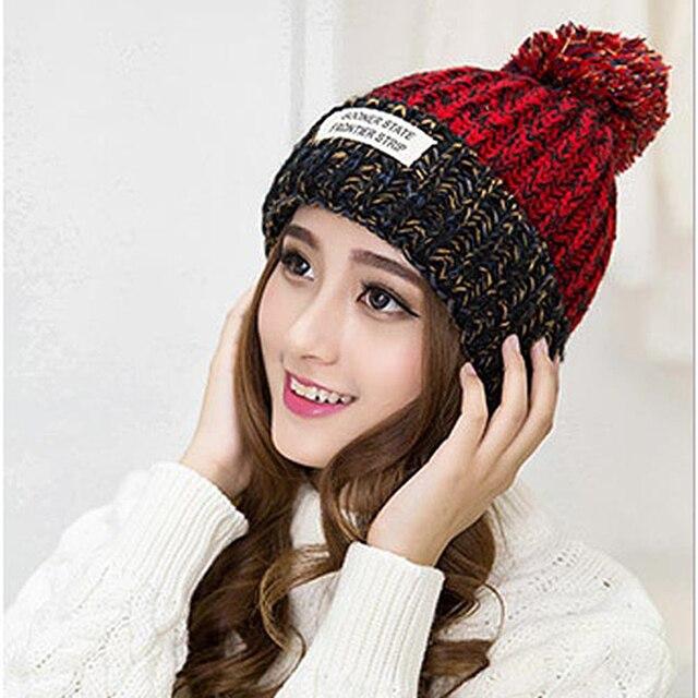 2017 mujeres Bonnet Femme invierno POM gorros sombreros de punto de  ganchillo sombrero caliente de lana 99564fa87c00