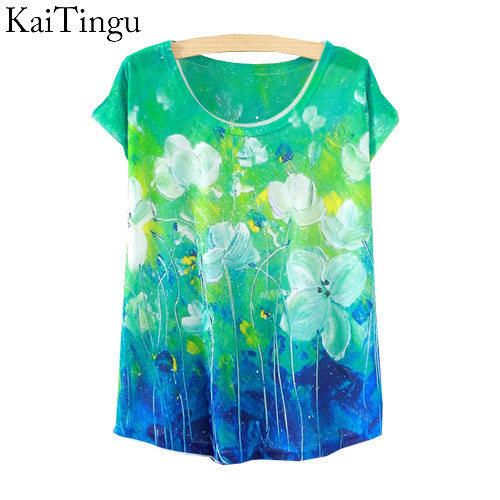 KaiTingu 2015 New Fashion Vintage Spring Summer T Shirt Women Tops Print T-shirt Green Floral Printed White Woman Clothes