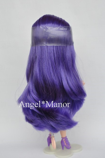 scalp with hair for Blyth, not doll, purple6 long hair,  with normal or dark skin, For Girl's Gift, TP042