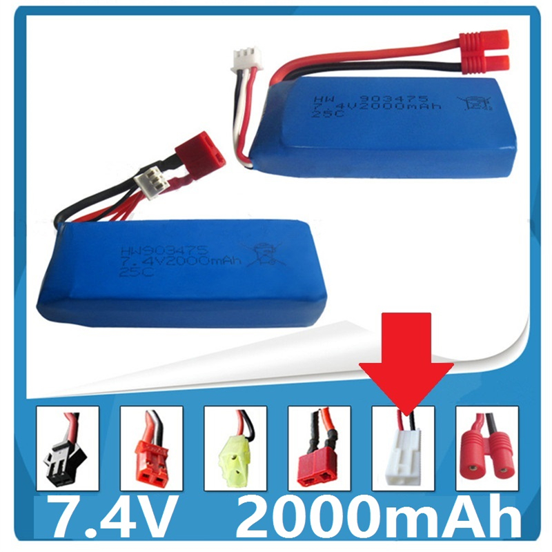 7.4V <font><b>2000mAh</b></font> <font><b>LIPO</b></font> <font><b>2S</b></font> Syma X8C X8W X8G quadrocopter high capacity <font><b>Lipo</b></font> battery 903475 Multiple outlets NO.5 for EL-2P plug image