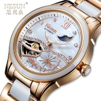 11.11 lowest price ) 2018 New Nesun Tourbillon Women Watch Luxury Brand Clock Automatic Self Wind Wrist Waterproof Ladies Watch