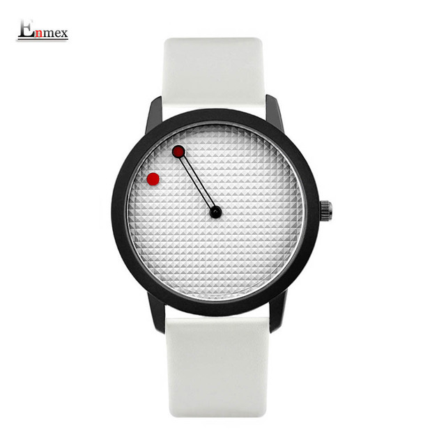 men gift Enmex brief stainless steel band creative geometric designs Floating pointer 3D dail with  young fashion quartz watches