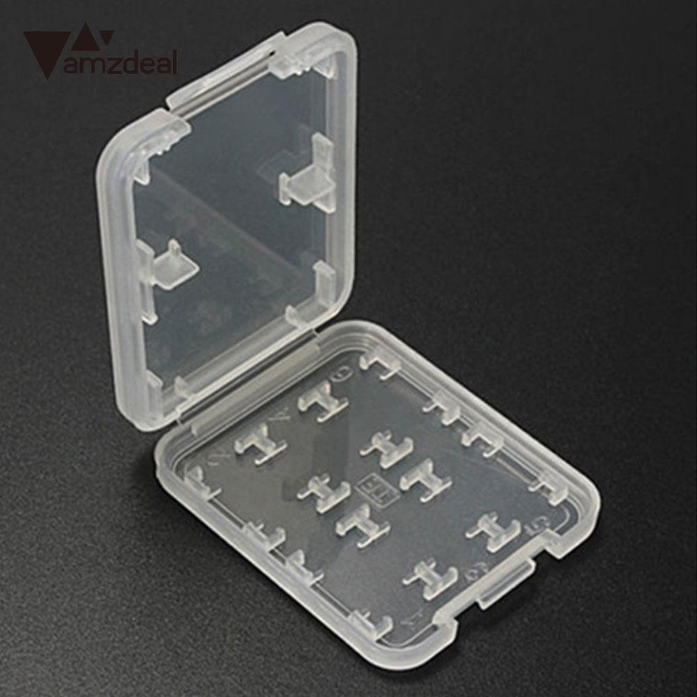 Portable 8 In 1 Plastic Transparent SD TF Card Store Box Protector Holder Case Computer Accessory