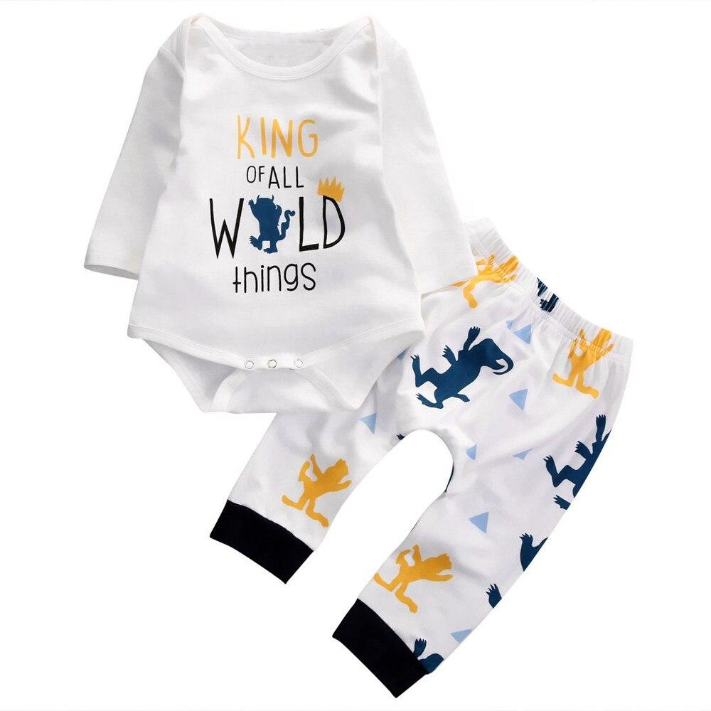 Newborn Infant Baby Boys Long Sleeve Bodysuit+Pants Leggings Outfits 2PCS Set Letter King of All Wild Things Baby Bodysuits Bodysuits    - title=