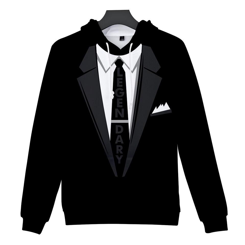 3D Suit Tie Mens Hoodies Sweatshirts Women/Men Couples Kpop Hip Hop Punk Autumn Winter Tops Clothing Black white 2018 New