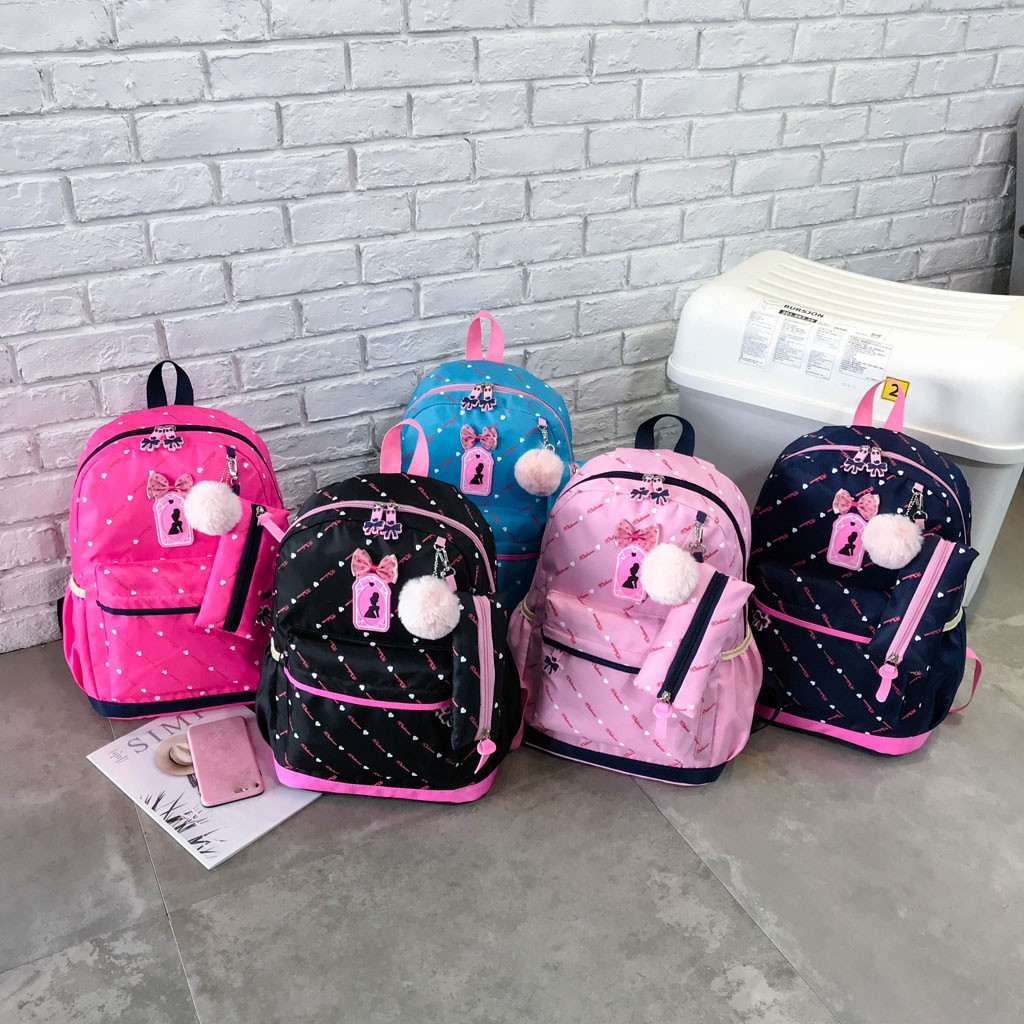 Women Bow Canvas Three-piece School Bag 48