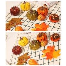 Горячая искусственные тыквы с поддельными кленовыми листьями на Хэллоуин День благодарения вечерние украшения