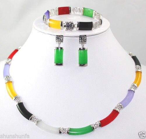 Women's Wedding pretty Fine Multi-Coloured gem bracelet earring Necklace Silvered set silver-jewelry real silver-jewelry