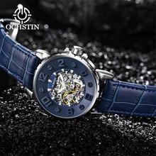 מקורי ממדי חיוג קלאסי שלד מכאני שעון גברים כחול רצועת עור למעלה מותג יוקרה איש שעונים עמיד למים שעון