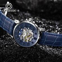 Original dimensionnel cadran classique squelette mécanique montre hommes bleu bracelet en cuir haut marque de luxe homme montres étanche horloge