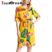 Women Silk dress Luxury 100% Real silk Belted Half sleeved Printed dresses Mid Calf length 2018 Spring Summer Yellow