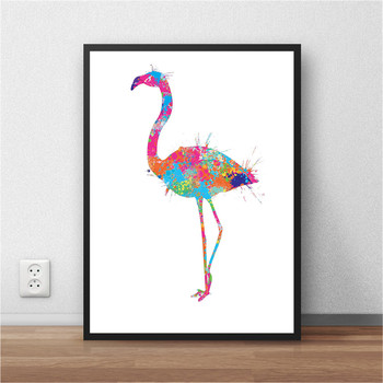 The crane in the animal world Abstract Watercolor Painting Wall art Paper Poster Sticker Living Room Print Picture 42x30cm