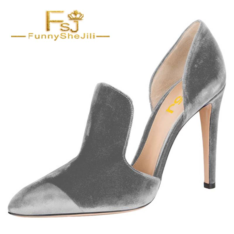 Grey Double D'orsay Pointy Toe Stiletto Heels Pumps Spring Autumn Attractive Incomparable Generous Noble Fashion FSJ Elegant