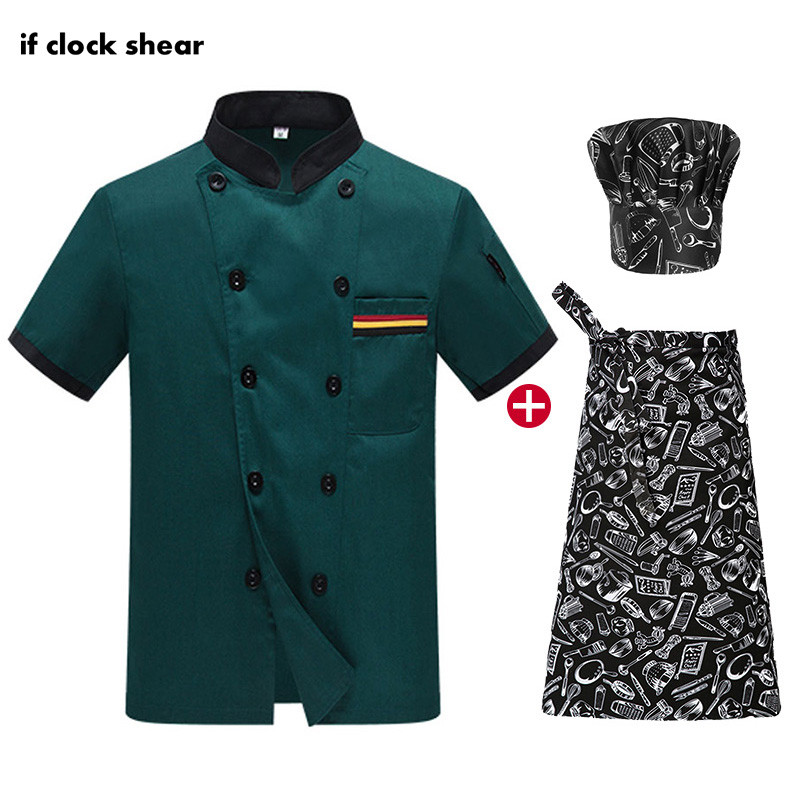 Unisex Food Service Chef Restaurant Uniforms Shirts Catering Work Clothes Black Kitchen Chef Jackets Short Sleeved Cooker Coat