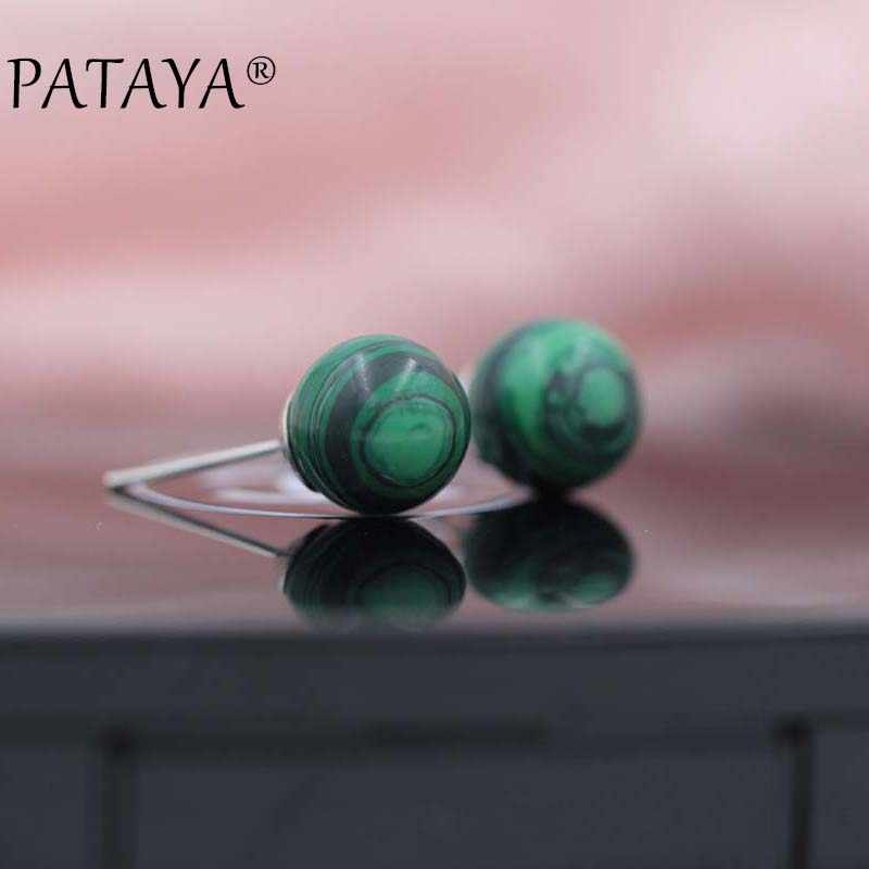 PATAYA Fashion Hot Green Onyx Earrings New Arrivals Round Natural Stone Stud Earrings Women Wedding Spherical Earrings Jewelry