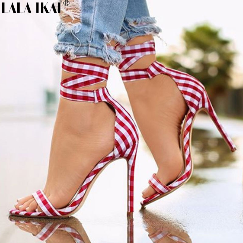 LALA IKAI Summer Women Sandals Cross-tied High Heeled Sandals Female Sexy Gingham Wedding Party Ladies Sandals XWC1880-5