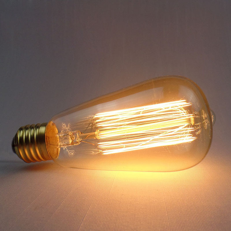 1Pcs Nordic style Bulb E27 220v /110V Edisons Lamp Retro Edison Bulbs 40w ST64 Ball Bubble Light For Holiday Decor Light