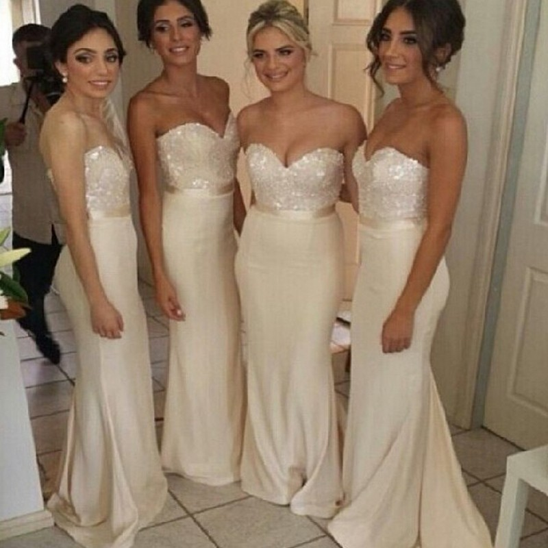2018 Chiffon Bridesmaid Dresses Lvory Long Sweetheart Blingbling Sequins Top Sheath Prom Wedding Party Gowns