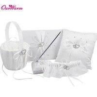 5Pcs Set 8 Colors Satin Wedding Decorations Ring Pillow Flower Basket Guest Book Pen Set Garter