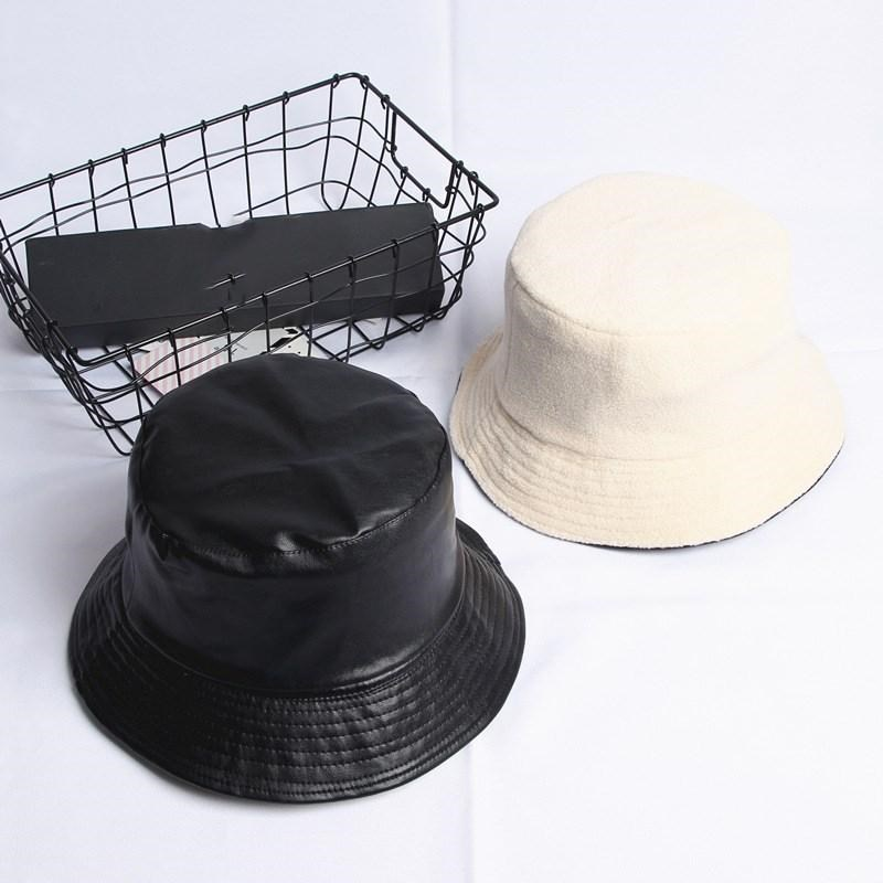 2019 Leatehr Solid Warm Two Sides Bucket Hat Fisherman Hat Sun Cap Hats For Men And Women 480