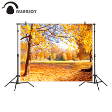 Allenjoy background for photo studio autumn golden leaves tree watercolor backdrop professional photobooth photocall props