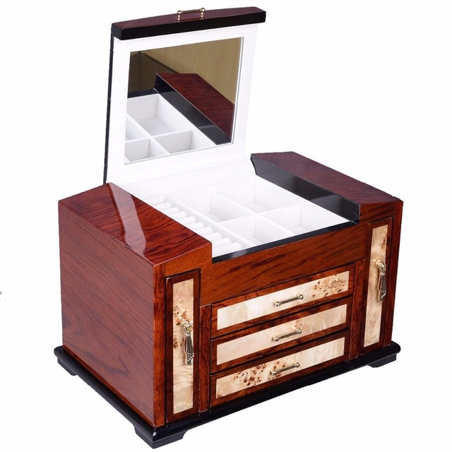 Aliexpresscom Buy Wooden Jewelry Case 4 Layers W3 Drawer Storage