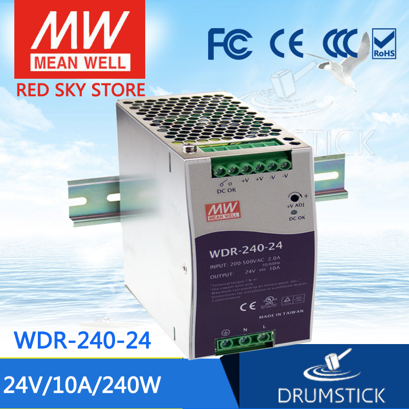 Best-selling MEAN WELL original WDR-240-24 24V 10A meanwell WDR-240 24V 240W Single Output Industrial DIN RAIL Power Supply [powernex] mean well enc 240 24 240w desktop single output battery charger meanwell enc 240