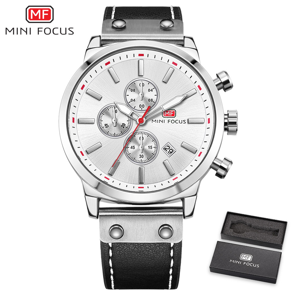 MINIFOCUS Fashion Chronograph Men Watches Quartz Clock Leather Strap Calendar 3 Sub-dials 6 Hands Top Brand Luxury Wrist Watch