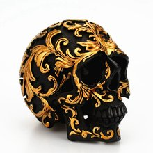 Halloween Golden Flower Pattern Decoration Unique Black Head Skeleton Funny Ornaments(China)