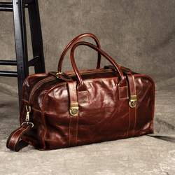 Luxury European Fashion Genuine Leather Men's Travel Bags Perfect Quality ManTravel Duffle Large Vintage Oil Wax Cow Leather Bag