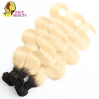 Facebeauty 1/3/4 Bundles 1B/613 2 Tone Dark Roots Blonde Brazilian Hair Body Wave Remy Hair Extensions Ombre Human Hair Bundles