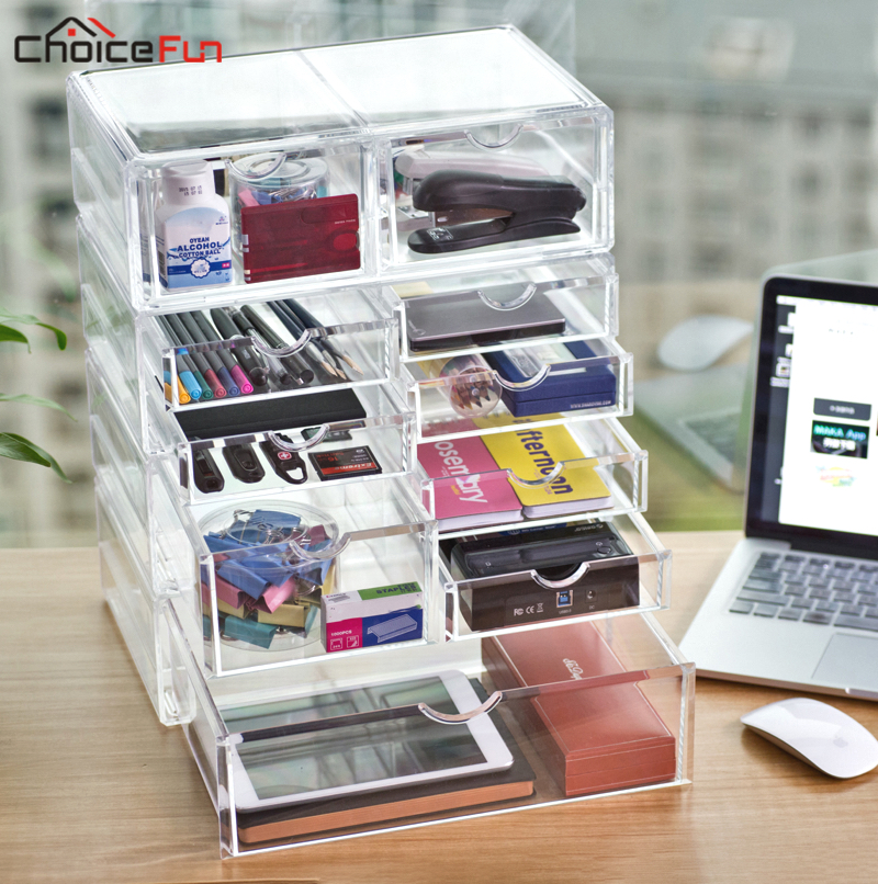 CHOICEFUN DIY Plastic Clear Acrylic File A4 Paper Organizing Stationery Table Desk Organiser Home Office Supplies Organization ...