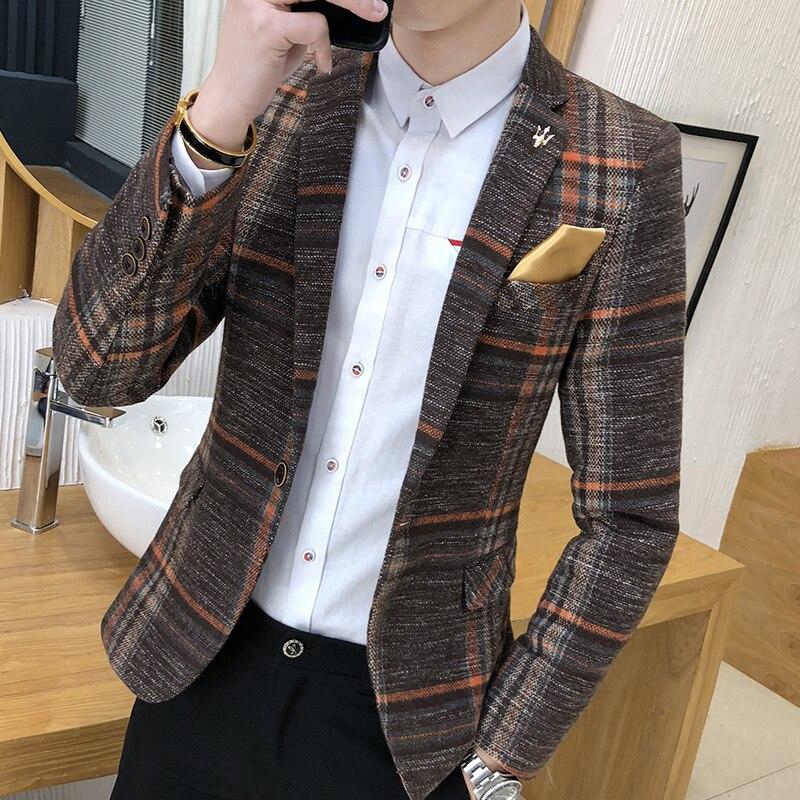 2019 New Boutique Fashion Classic Plaid Mens Suit Coats Single Buckle Wedding Dress Casual Fashion Suit Jacket Men Suit Blazer