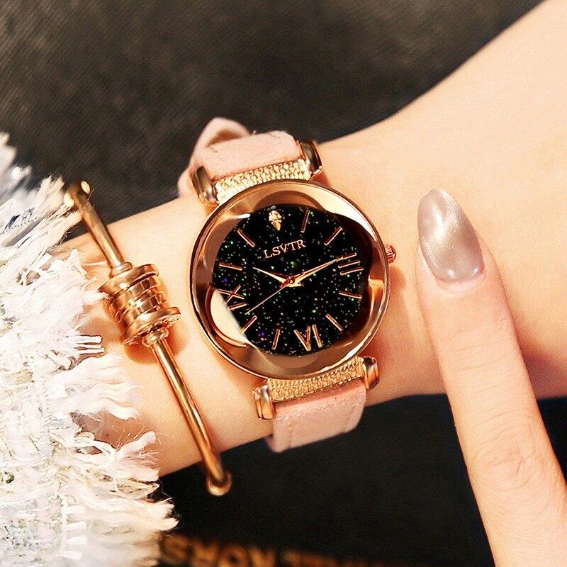 Uhren frauen Beiläufige Stern Minimalistische Mode Uhr Pu-leder Damen armbanduhr 2018 luxus marke Stunden Reloj Mujer