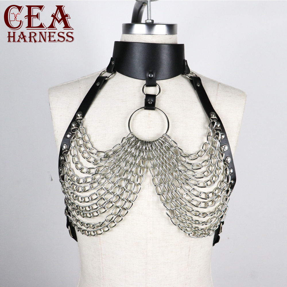 CEA.HARNESS Sexy Lingerie Belt PU Choker Bondage Bust Garter For Female Erotic Accessories Chain Suspenders Restraints Harness