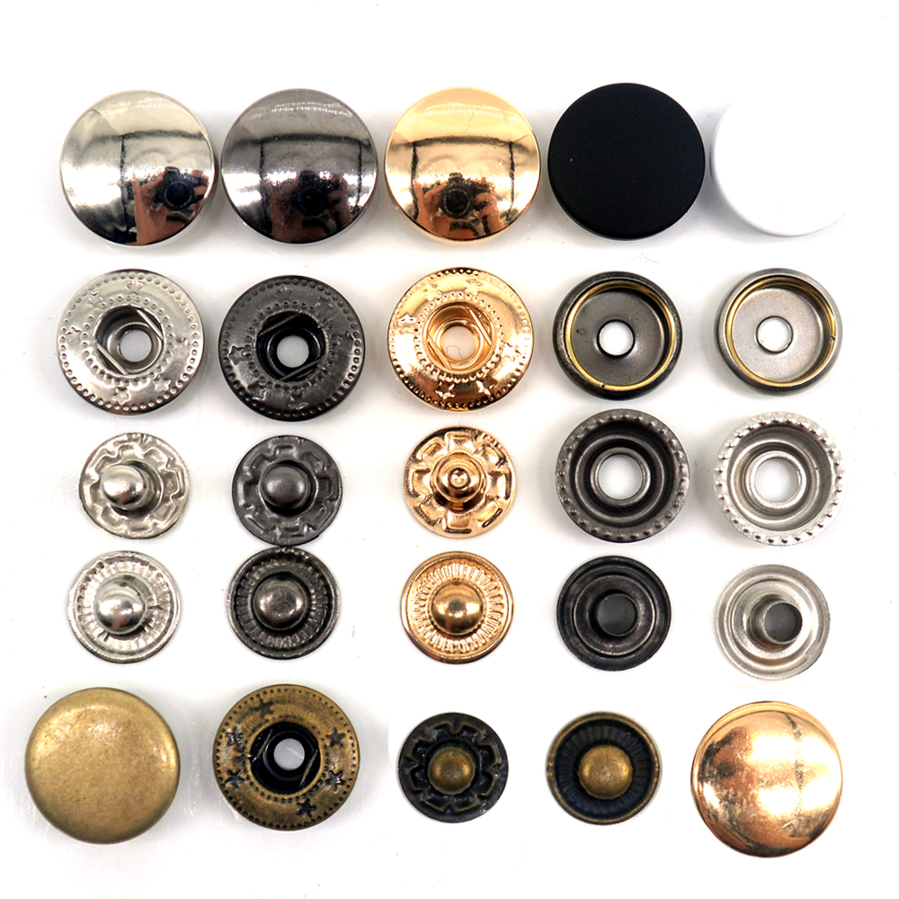 10MM Metal Snap Fastener Spring Brass Press Studs Popper Button Sew On Rustproof